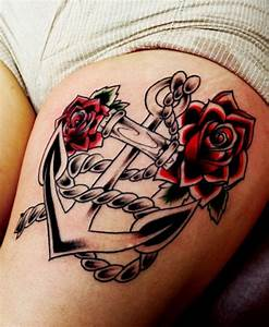 Rose And Anchor Tattoo On Thigh