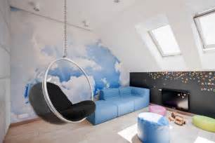 shaped hanging chair with cloud wallpaper for