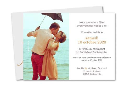 reponse invitation 50 ans de mariage carte anniversaire de mariage 50 ans texte planet cards