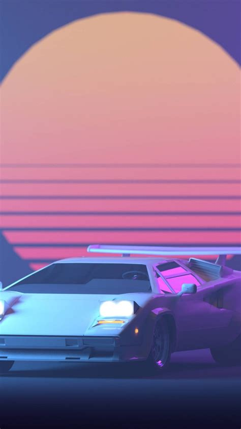wallpaper lamborghini retro neon sun  creative graphics