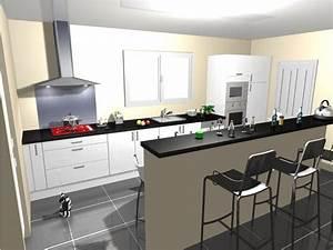 idee carrelage noir avec cuisine blanc laquee 8 messages With idee de carrelage pour cuisine