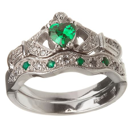 white gold emerald set heart claddagh ring wedding