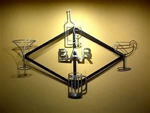bar display metal wall art decor 10 piece modular kit With bar wall decor