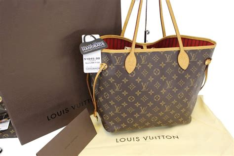 authentic louis vuitton monogram canvas red neverfull mm tote bag tt