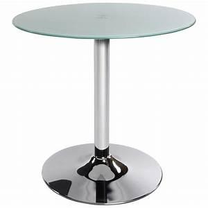 Table Verre Ronde : mesa redonda vinyl metal y vidrio templado blanco ~ Teatrodelosmanantiales.com Idées de Décoration