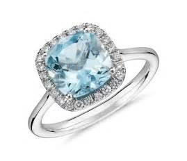 aquamarine wedding rings aquamarine and halo ring in 14k white gold 8x8mm blue nile