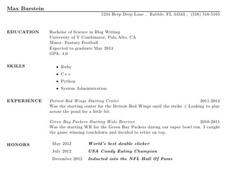 Resume Education Section Honors by Creating A Resume Using Max Burstein S
