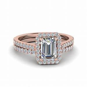 Emerald cut french pave halo diamond bridal set in 14k for Emerald cut diamond wedding ring sets