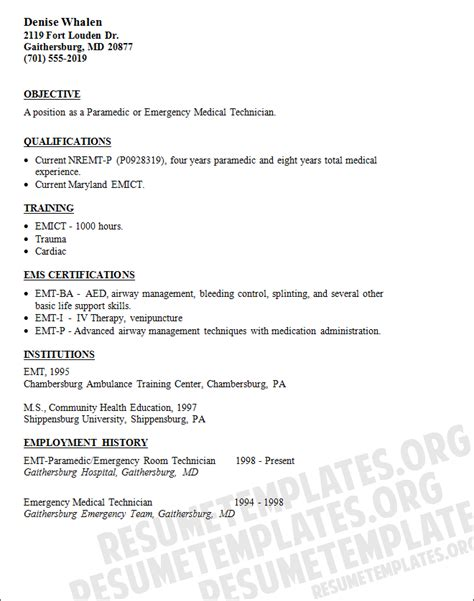 Emt Basic Resume Objective by Emergency Technician Resume Template With Skills And Objectives