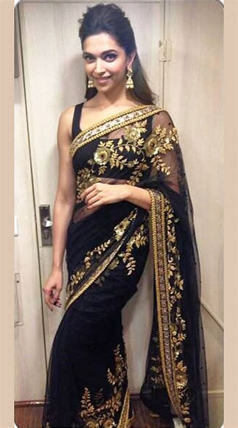And Gold Sari deepika padukone in black saree golden work sealto10k