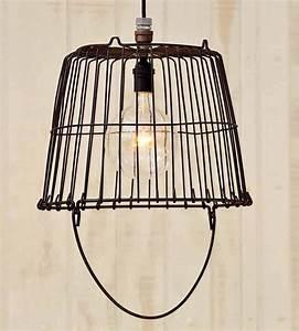 Vintage egg basket pendant light pendant lighting for Light a lamp and put it under a basket
