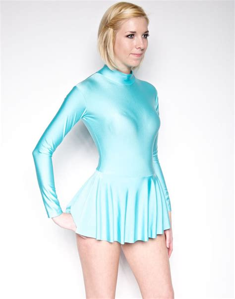 light blue bodysuit light blue skating dress shiny spandex dancewear