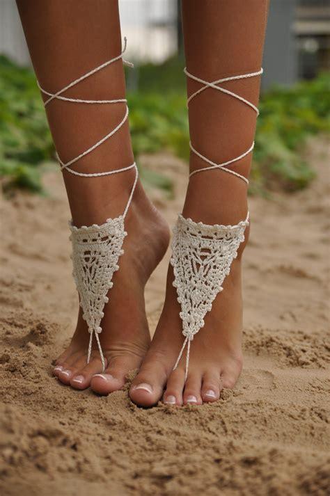 heels gelang crochet ivory barefoot sandals shoes foot jewelry