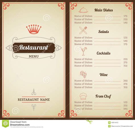 cuisine menu list restaurant menu template stock vector illustration of
