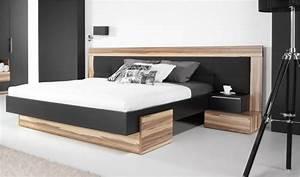 Tete De Lit Design : lit bois design noir adulte 2 places t te de lit large ~ Teatrodelosmanantiales.com Idées de Décoration