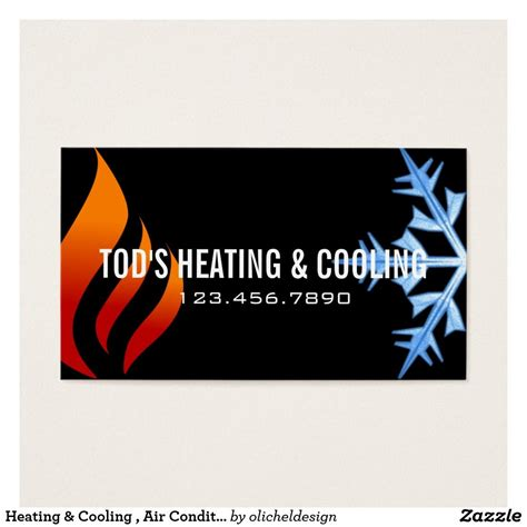 heating cooling air conditioning hvac business card