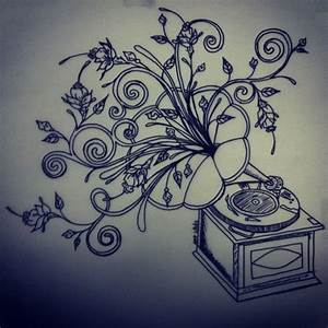 Final drawing of phonograph tattoo by BettyBoopEyes on ...