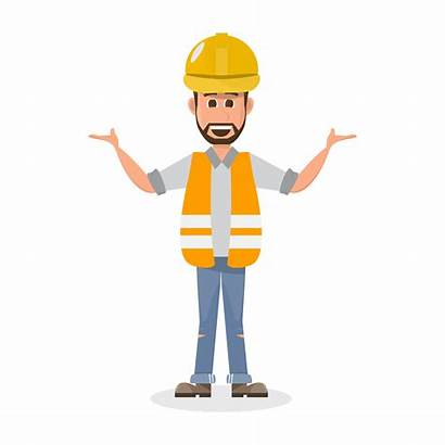 Worker Character Construction Vector Engineering Architect Different