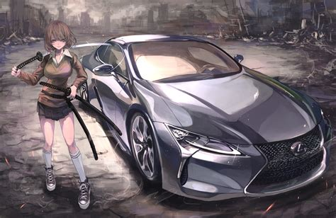 wallpaper anime girls weapon katana sword lexus