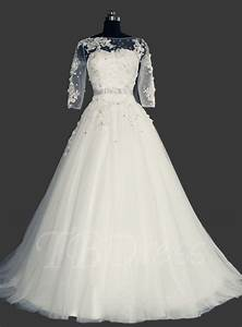 a line tulle 3 4 sleeves appliques plus size wedding dress With 3 4 sleeve wedding dress plus size