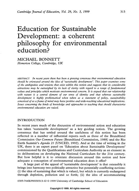 education  sustainable development  coherent