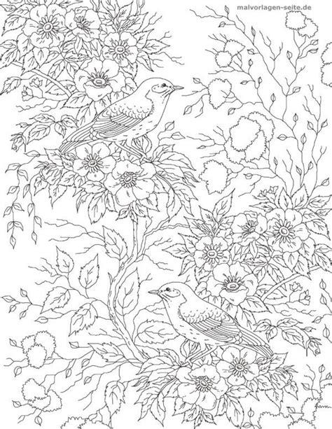 malvorlage erwachsene vogel mit blumen malvorlagen