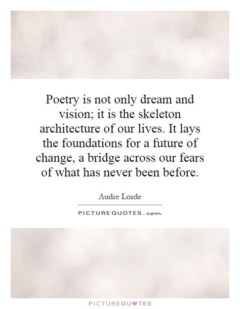 Poetry Is Not Only Dream And Vision; It Is The Skeleton