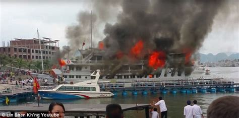 vietnam wooden cruise ship bursts in to flames with