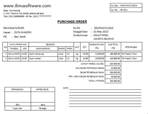 List Barang Elektronik Surat Penawaran by Contoh Po Purchase Order Dan Cara Membuatnya Kumpulan