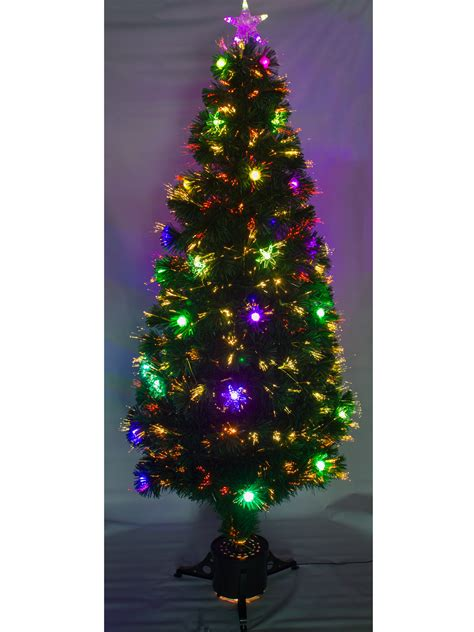 5ft 6ft pre lit fibre optic christmas tree with led