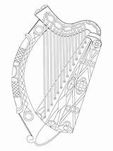 Harp Irish Harfa Drawing Irlandzka Coloring Kolorowanka Ireland Vectorified Ausmalbilder Arms Coat Harfe Kategorii sketch template