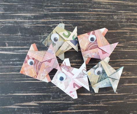fisch falten aus geldschein einfache anleitung mit