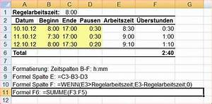 Excel Arbeitszeit Berechnen Formel : erstunden berechnen in excel formel berstunden ~ Themetempest.com Abrechnung