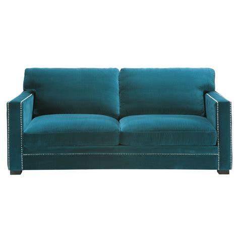 canapé payable en 10 fois sans frais canapé 3 4 places en velours bleu dandy maisons du monde