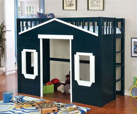eileen twin loft bed dark blue  white furniture