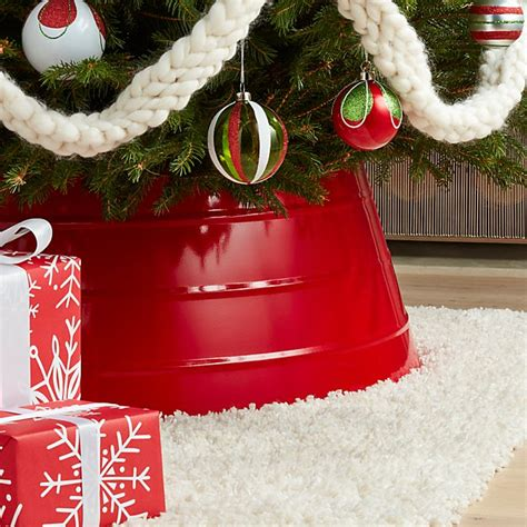 glossy red tree collar crate  barrel