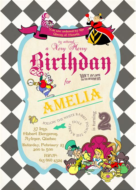 alice  wonderland birthday invitations  printable