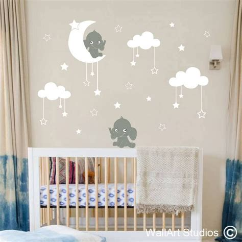 Enjoy free shipping & great prices on decor, cribs, gliders, dressers decisions you'll want to make include the bedding, wall art, valance, curtains, decals nursery decorations and storage deals at albee baby. Elephants & Moon Stars Nursery Decal | Moon stars nursery, Elephant nursery wallpaper, Nursery ...
