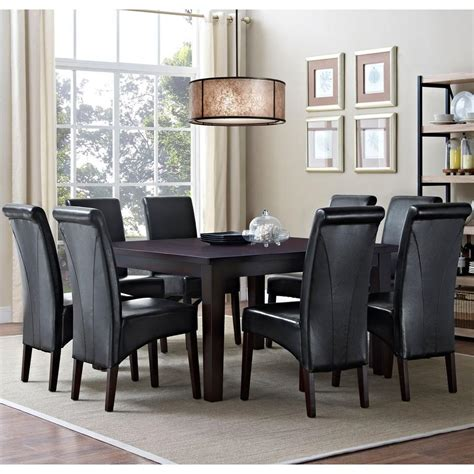 simpli home avalon  piece midnight black dining set