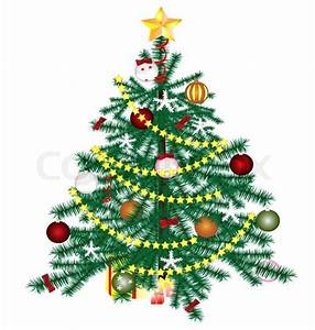 On A White Background Christmas Tree With Ornaments And
