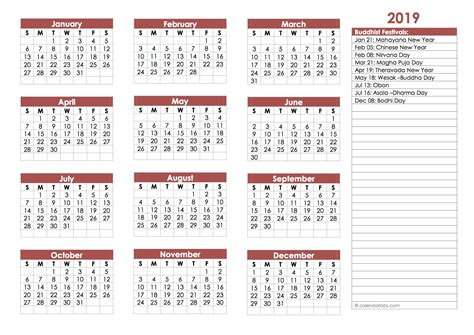 buddhist festivals calendar template  printable