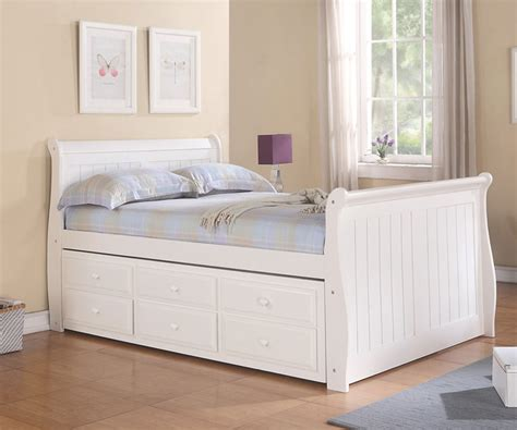 8679 size bed white sleigh size captains trundle bed white bedroom
