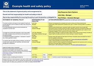 Hse Health And Safety Policy Template Health And Safety Implications Time Adventure Double