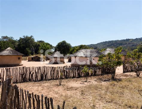 Typical Tribal Village In Zimbabwe Stock Photos