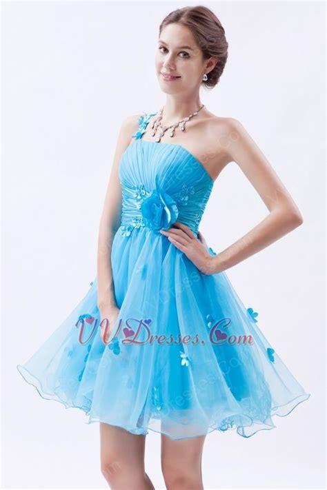 sexy  shoulder knee length azure graduation dress
