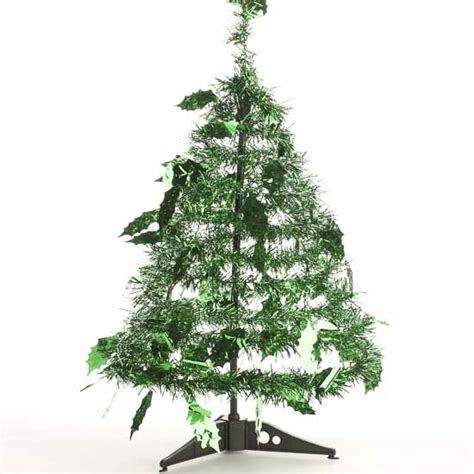 shiny green tinsel standing garland christmas tree