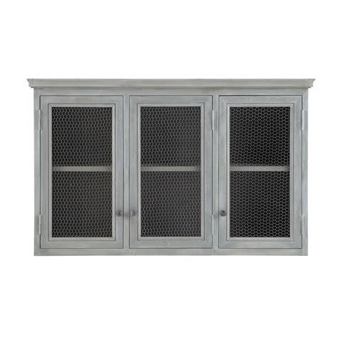element haut de cuisine meuble haut de cuisine en bois d 39 acacia gris l 120 cm zinc