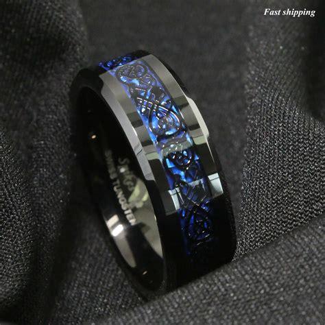 8 6mm tungsten carbide ring black celtic blue carbon fibre mens jewelry ebay