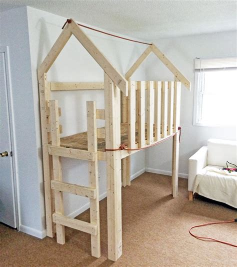 ana white  bed indoor playhouse loft diy projects