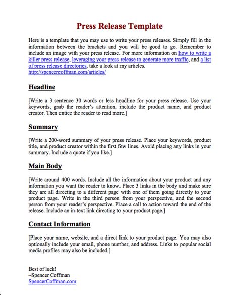 press release email template free press release template for your press releases spencer coffman
